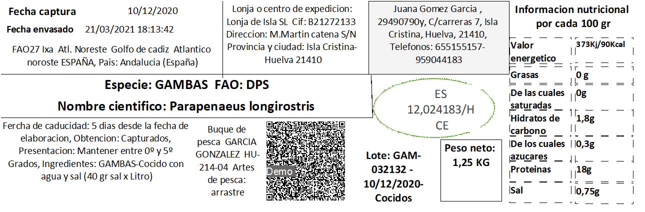Etiquetado de marisco